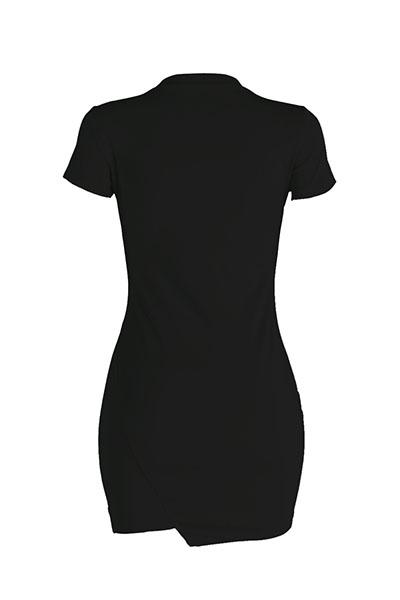 Lazer Rodada pescoço curto mangas quebrado buracos preto poliéster mini vestido