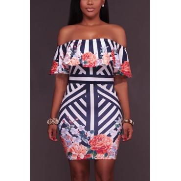 Stylish Dew Shoulder Short Sleeves Printed Milk Fiber Knee Length Dress