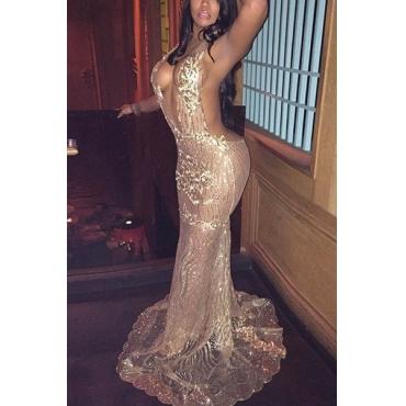 Sexy Deep V Neck Backless Gold Gauze Mermaid Floor length Dress
