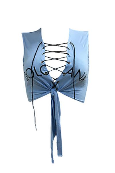 Freizeit V-Ausschnitt Ärmellos Lace-up Hollow-out Hellblau Baumwoll Shirts
