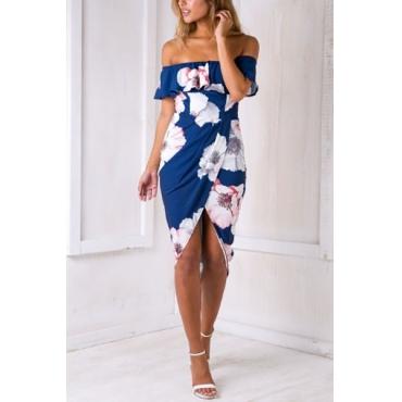 Charming Dew Shoulder Short Sleeves Printed Asymmetrical Dark Blue Cotton Sheath Knee Length Dress