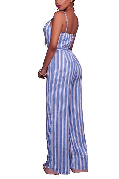 Sexy V Neck cintas de espaguete sem mangas Striped Light Blue tecido saudável macacão de uma peça