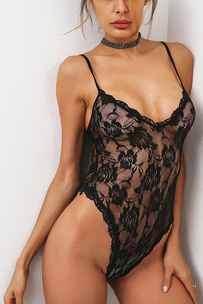 Sexy V Neck See-Through Black Lace One-piece Jumpsuits