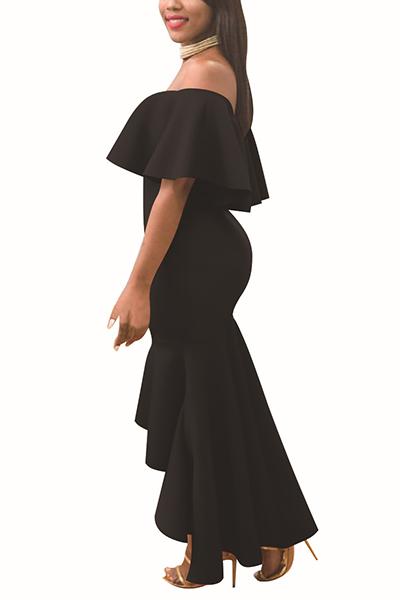 Hombro de rocío encantador falbala diseño negro poliéster vestido de longitud de tobillo