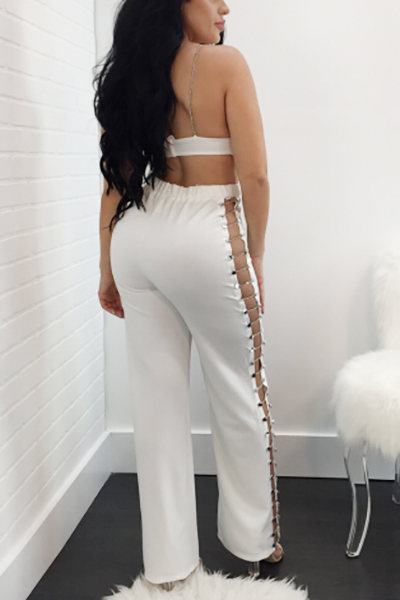 Sexy V Neck Hollow-out White Qmilch Two-piece Pants Set