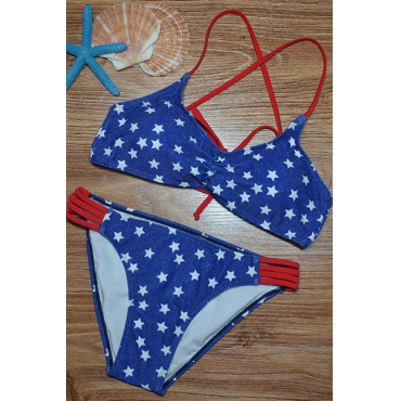 Euramerican Five-pointed Stars Printed Hollow-out Polyester Two-piece Swimwear