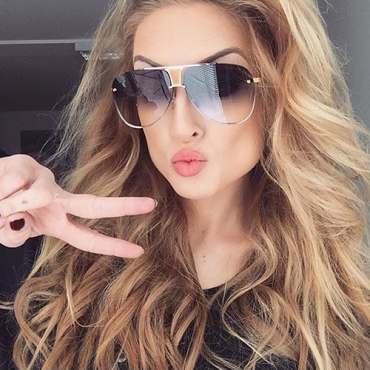 Fashion Hollow-out Silver PC Sunglasses