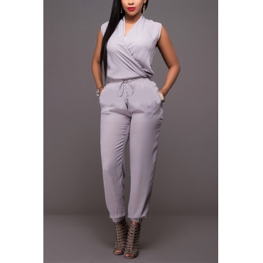 Trendy V Neck Tank Sleeveless Grey Linen One-piece Jumpsuits