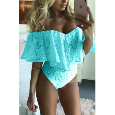 Euramerican Dew Shoulder Falbala Design Blue Lace One-piece Skinny Jumpsuits