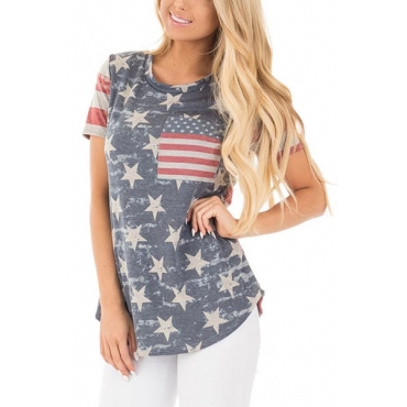 Leisure Round Neck Short Sleeves Printed Cotton T-shirt(Independence Day)