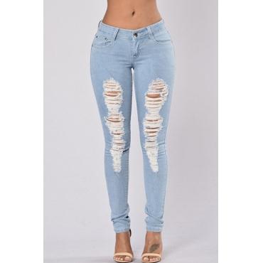 Fashion High Waist Broken Holes Light Blue Denim Pants