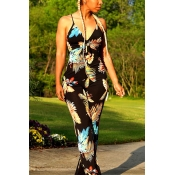 Sexy V Neck Sleeveless Printed Black Qmilch One-piece Jumpsuits
