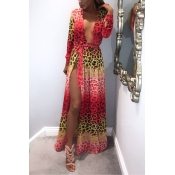 Euramerican Leopard Printed Red Polyester Cover-Ups