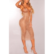 Sexy Deep V Neck Hollow-out See-Through Rose Gold Polyester Cover-Ups