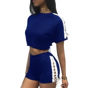 Leisure Round Neck Short Sleeves Hollow-out Blue Polyester Two-piece Shorts Set