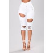 Stylish High Waist Broken Holes White Denim Jeans