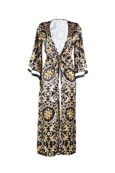Polyester  Print One Pieces(Include Coat)