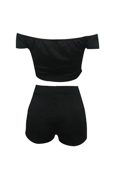 Черный полиэстер Шорты Твердые Бейто Шея с коротким рукавом Sexy Two Pieces