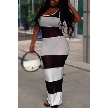 Euramerican Round Neck Sleeveless Net Yarn Splicing Cotton Sheath Ankle Length Dress