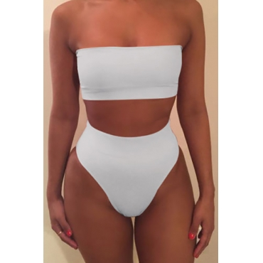 Euramerican White Polyester Two-piece Swimwear