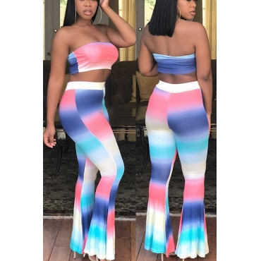 Euramerican Non Positioning Printing Polyester Two-piece Pants Set