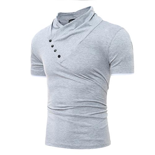 T-shirt a maniche corte in turtleneck Leisure T-shirt in cotone grigio chiaro decorativo