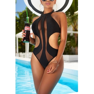 Sexy See-Through Hollow-out Black Polyester One-piece Swimwear