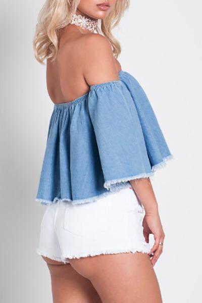 Euramerican Dew Shoulder Short Sleeves Falbala Design Blue Denim Shirts