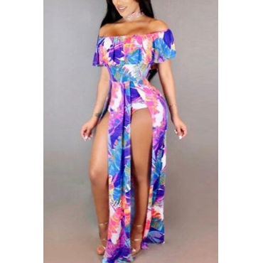 Sexy Printed High Split Milk Fiber One-piece Skinny Jumpsuits