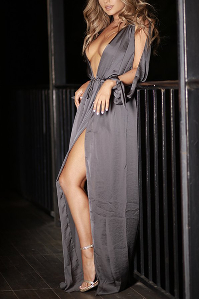 Sexy Deep V Neck Hollow-out Dark Grey Polyester Floor Length Dress