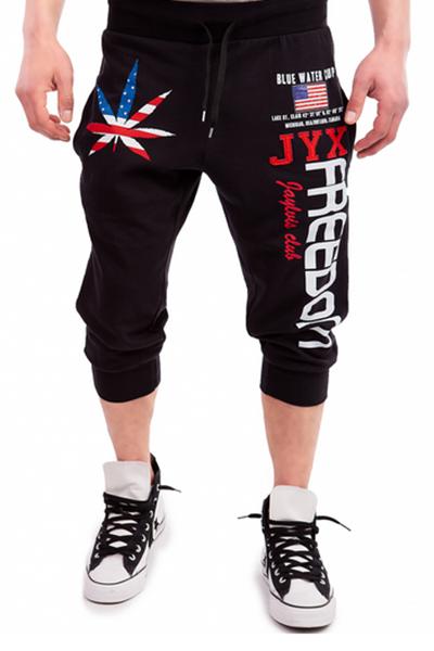 Pantaloni misti in cotone nero stampato a vita elastica