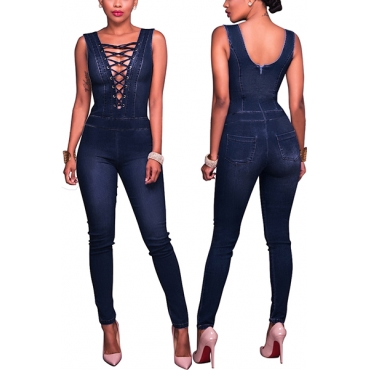 Leisure Deep V Neck Hollow-out Blue Denim One-piece Skinny Jumpsuits