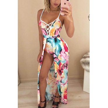 Sexy V Neck Printed Hollow-out Polyester One-piece Skinny Jumpsuits