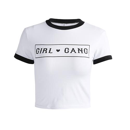 Freizeit-Rundhals Kurzarm-Patchwork Weißes Baumwoll-T-Shirt