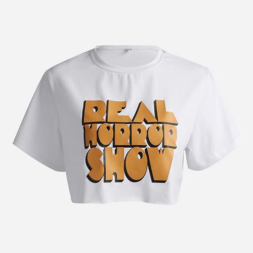 T-shirt manica corta a collo rotondo libero da stampare con stampa in cotone bianco