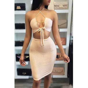 Sexy Lace-up Hollow-out Apricot Polyester Two-piece Skirt Set