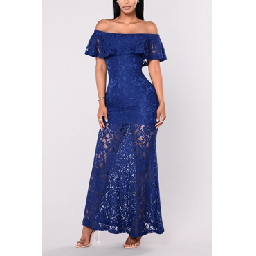 Stylish Hollow-out Royalblue Lace Sheath Ankle Length Dress
