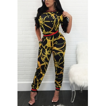 Stylish Round Neck Short Sleeves Printed Black Polyester One-piece Skinny Jumpsuits