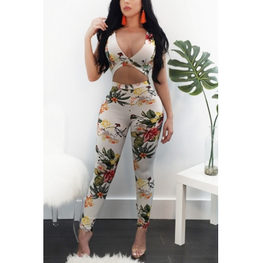 Sexy Backless Printed Healthy Fabric One-piece Skinny Jumpsuits