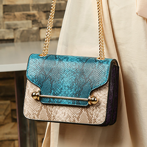 Stylish Patchwork Blue PU Crossbody Bag