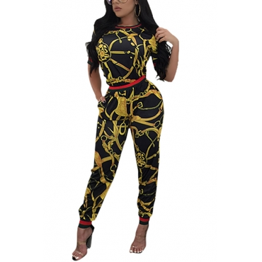 Stylish Round Neck Short Sleeves Printed Patchwork Black Milk Fiber Two-piece Pants Set
