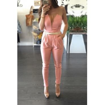 Sexy Dew Shoulder Deep V Neck Pink Blending One-piece Skinny Jumpsuits(Without Belt)
