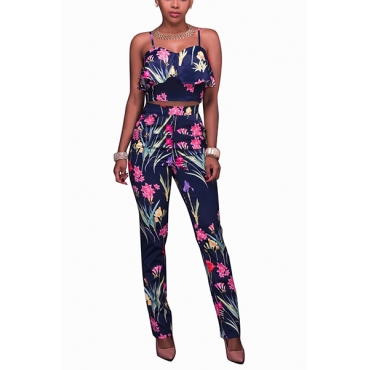Blue Healthy Fabric Pants Print Sleeveless Sexy Two Pieces