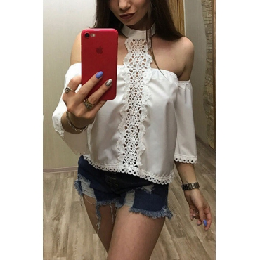 Pullovers Polyester O Neck Half Sleeve Solid Blouses&Shirts