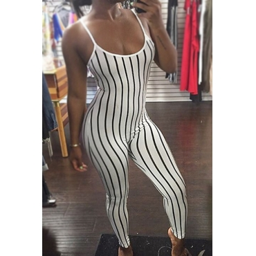 Sexy U-shaped Neck Striped White Twilled One-piece Skinny Jumpsuits