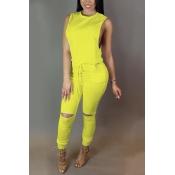 Na moda em torno do pescoço sem mangas Zipper projeto cordão amarelo poliéster Macacões de uma peça