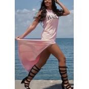 Cotone rosa sexy scamosciato senza maniche in raso rotondo sexy