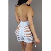 Sexy alta cintura hueco-out azul claro pantalones cortos Denim