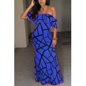 Charmante kurze Ärmel Falbala Design Blaue Milch Fiber Mantel Knöchel Länge Kleid