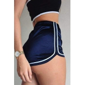 Leisure High Waist Patchwork Royalblue Blending Sh